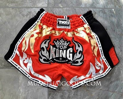 TOP KING BOXING MUAY THAI SHORTS LOW WAIST RED MADE IN SATIN