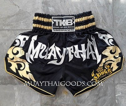 TOP KING BOXING WRITTEN MUAY THAI ON SHORTS BLACK SILVER