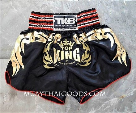 TOP KING SATIN MUAY THAI BOXING SHORTS BLACK GOLD LOGO