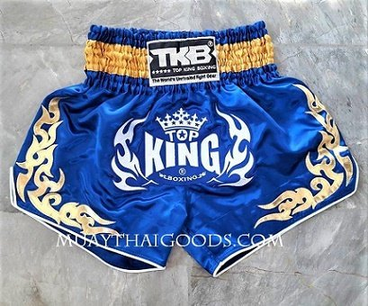 TOP KING THAI MUAY THAI SHORTS LIGHT BLUE SATIN
