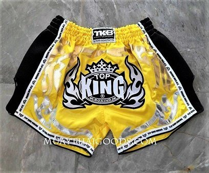 TOPKING BOXING MUAY THAI SATIN SHORTS LOW WAIST YELLOW