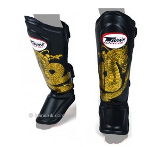 Twins SPECIAL FANCY Black Gold Dragon Shin Pads FSG-23 SGL10 DOUBLE PADDED
