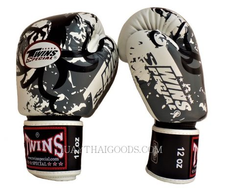 BOXING GLOVES TWINS SPECIAL GRAPHIC TRIBAL DRAGON FBGV36 GREY