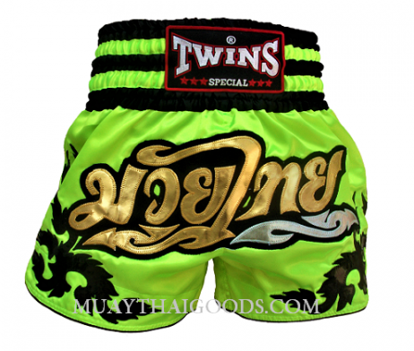 Fluo Twins Special Muay Thai Boxing Shorts Green Lime - MUAY THAI GOODS