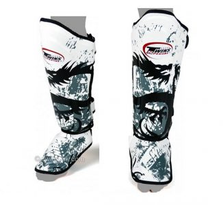 Twins SPECIAL Shin Pads guards Protection Dragon White SGL10 DOUBLE PADDED