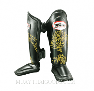 Twins Shin Pads guards Protection Dragon Pattern Black SGL10 DOUBLE PADDED