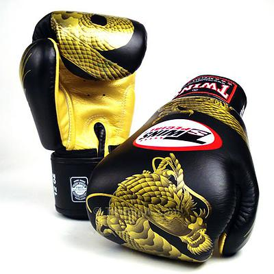 Twins Special Fancy Boxing Gloves Chinese Dragon BLACK GOLD FBGV 23