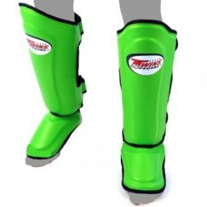 Twins Special Shin Pads Leather Double Padded Protection SGMC 10 Green