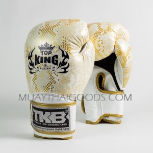 TOP KING BOXING GLOVES SUPER SNAKE WHITE GOLD AIR