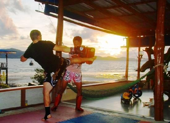 Training Muay Thai In the nature