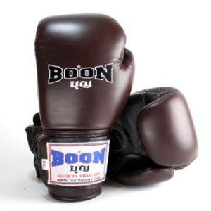 Boon Muay Thai Boxing Glove BGV velcro Brown Black