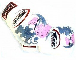 MUAY THAI KICKBOXING TWINS BOXING GLOVES WHITE PINK FLOWER FBGV13