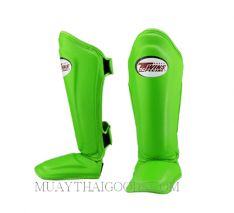 TWINS SHIN GUARDS PROTECTION SGL10 GREEN DOUBLE PADDED