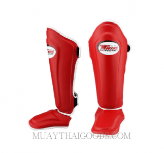TWINS SPECIAL SHIN GUARDS PADS PROTECTION SGL 10 RED DOUBLE PADDED