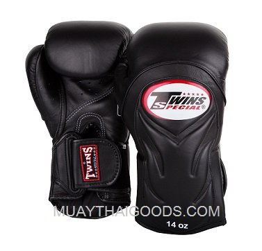 TWINS SPECIAL DELUXE MUAY THAI BOXING GLOVES BGVL6 FULL BLACK