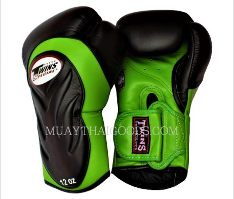 TWINS SPECIAL BGVL6 BOXING GLOVES DELUXE BLACK GREEN MADE IN LEATHER