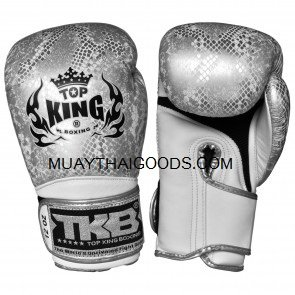 TOP KING BOXING GLOVES SNAKE SILVER WHITE