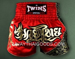 TWINS MUAY THAI SHORTS RED DRAGON T151