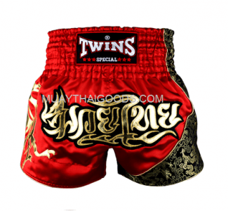 TWINS NEW MUAY THAI SHORTS RED DRAGON T151