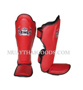 TOP KING PRO SHIN PADS GENUINE LEATHER TKSGP-GL RED
