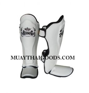 TOP KING PRO SHIN PADS GENUINE LEATHER TKSGP-GL WHITE