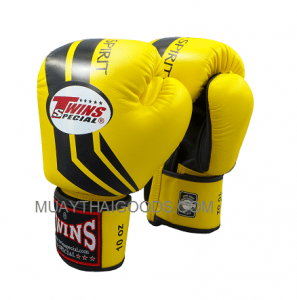 TWINS SPECIAL FIGHTING SPIRIT BOXING GLOVES YELLOW BLACK FBGV43