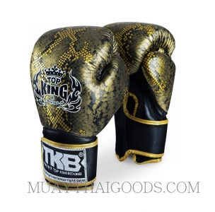 TOP KING BOXING GLOVES SNAKE GOLD BLACK NOT BREATHABLE