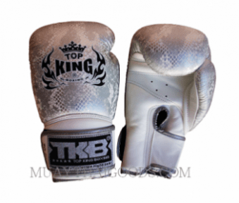 TOP KING BOXING GLOVES SNAKE WHITE SILVER NOT BREATHABLE