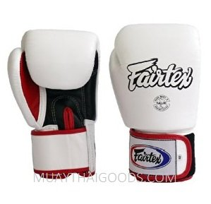 FAIRTEX BGV1 BOXING GLOVES WHITE BLACK RED