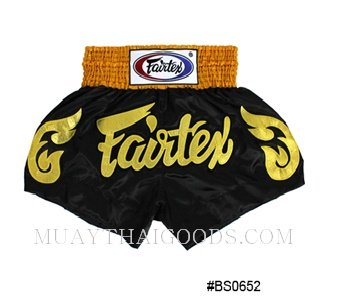 FAIRTEX MUAY THAI BOXING SHORTS BLACK GOLD BS0652