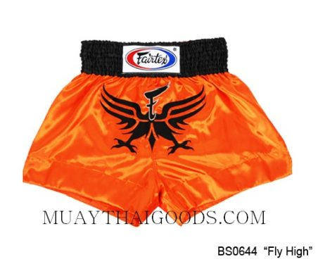 FAIRTEX MUAY THAI BOXING SHORTS FLY HIGH ORANGE BLACK