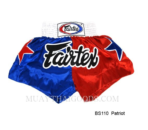 FAIRTEX MUAY THAI BOXING SHORTS PATRIOS BS110 BLUE RED