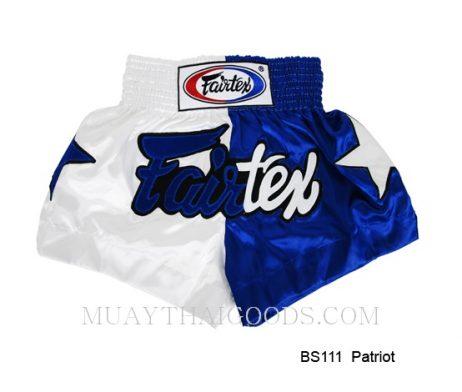 FAIRTEX MUAY THAI BOXING SHORTS PATRIOS BS111 WHITE BLUE