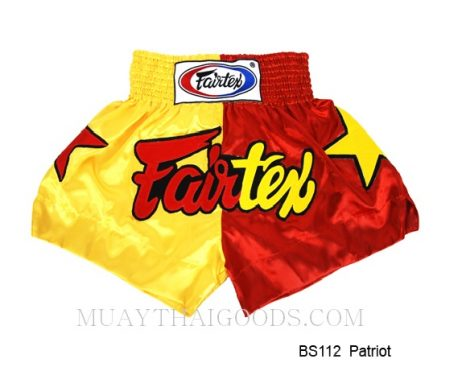 FAIRTEX MUAY THAI BOXING SHORTS PATRIOS BS112 RED YELLOW