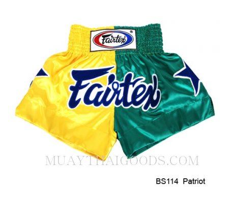 FAIRTEX MUAY THAI BOXING SHORTS PATRIOS BS114 YELLOW GREEN