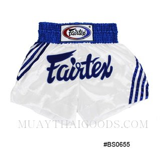 FAIRTEX MUAY THAI BOXING SHORTS WHITE BLUE BS0655