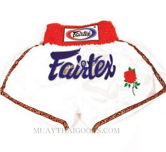 FAIRTEX MUAY THAI BOXING SHORTS WHITE BS0610 BEAUTIFUL BOXER