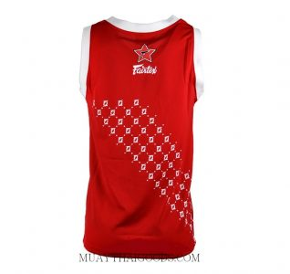 FAIRTEX TSHIRT BASKETBALL JERSEY JS5 SLEEVE LESS RED WHITE BACK