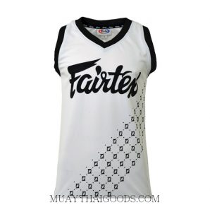 FAIRTEX TSHIRT BASKETBALL JERSEY JS6 SLEEVE LESS WHITE BLACK
