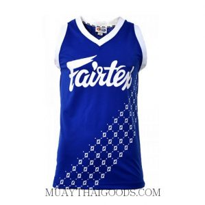 FAIRTEX TSHIRT JS5 SLEEVE LESS BLUE WHITE