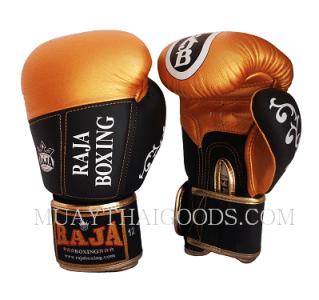 LEATHER PREMIUM BOXING GLOVES GOLD BLACK MADE BY RAJA