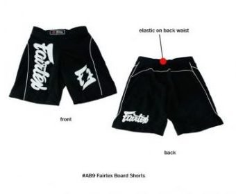 MMA BOARD SHORTS MADE BY FAIRTEX COLOR BLACK AB9