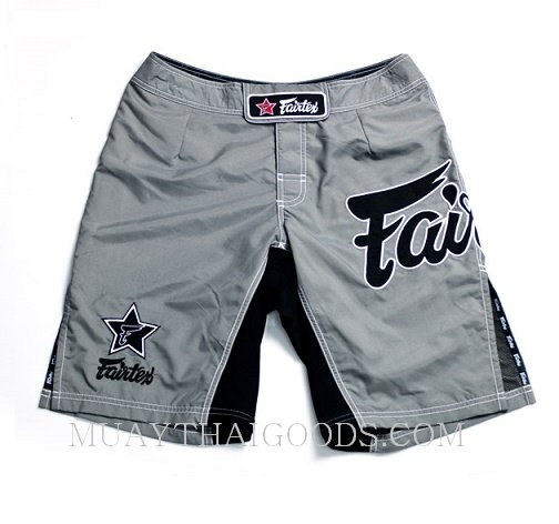 MMA SHORTS TRUNKS MADE BY FAIRTEX COLOR GREY AB1