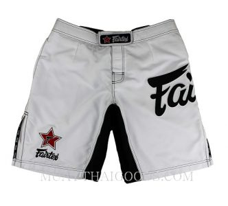 MMA SHORTS TRUNKS MADE BY FAIRTEX COLOR WHITE AB1