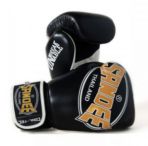 SANDEE THAILAND BOXING GLOVES COOL TEC BREATHABLE AIR BLACK GOLD