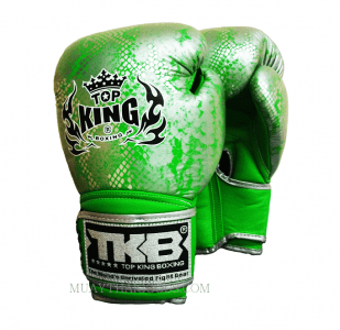 TOP KING BOXING GLOVES SNAKE GREEN SILVER
