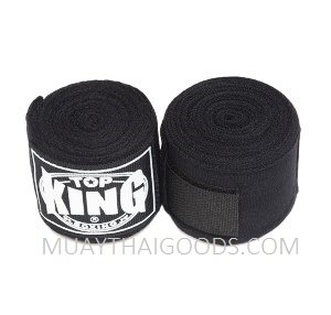TOP KING BOXING HAND WRAPS BLACK 4 METERS