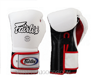 EXCELLENT FAIRTEX BGV9 MEXICAN STYLE GLOVES WHITE BLACK PALM RED