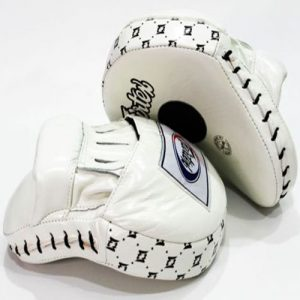 FAIRTEX FMV9 CLASSIC PRO FOCUS MITTS FULL WHITE CURVED LEATHER