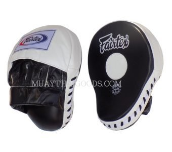 FAIRTEX FMV9 CLASSIC PRO FOCUS PUNCHING MITT WHITE BLACK CURVED LEATHER